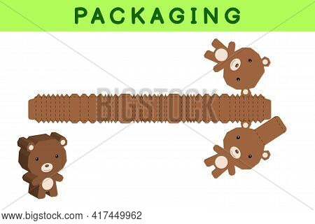 Party Favor Box Die Cut Bear Design For Sweets, Candies, Small Presents, Bakery. Package Template, G
