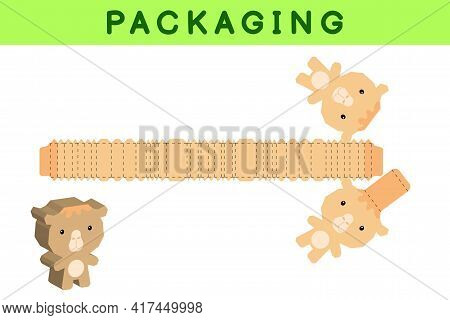 Party Favor Box Die Cut Camel Design For Sweets, Candies, Small Presents, Bakery. Package Template,