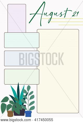 Wall Calendar Page Template With Seasonal Graphics For Month. August Summer Themed Calender Page