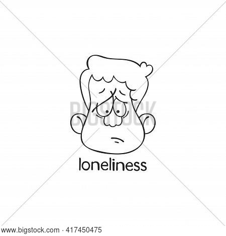 Loneliness. Emotion. Human Face. Cartoon Character. Isolated Vector Object On White Background.