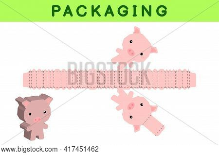 Party Favor Box Die Cut Pig Design For Sweets, Candies, Small Presents, Bakery. Package Template, Gr