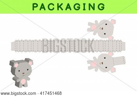 Party Favor Box Die Cut Mouse Design For Sweets, Candies, Small Presents, Bakery. Package Template,