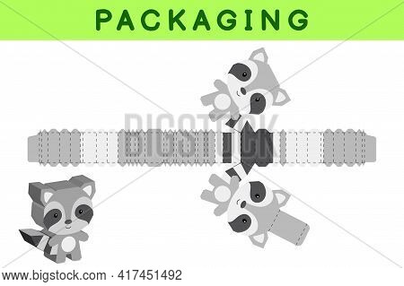 Party Favor Box Die Cut Raccoon Design For Sweets, Candies, Small Presents, Bakery. Package Template