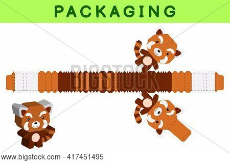 Party Favor Box Die Cut Red Panda Design For Sweets, Candies, Small Presents, Bakery. Package Templa