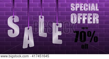 Sale Special Offer. Translucent Glass Or Plastic Letters On Purple Silk Ribbons With Brickwork On A