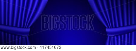 Luxury Blue Theatrical Curtains. Place For Your Text. Vector Illustration.