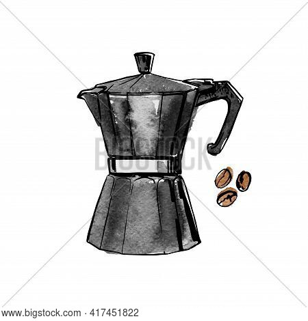 Mocha Coffee Pot. Vector Sketch Of Food In Ink On A White Background.