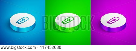 Isometric Line Light Emitting Diode Icon Isolated On Blue, Green And Purple Background. Semiconducto
