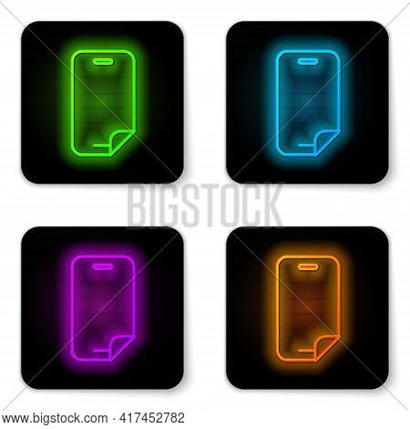 Glowing Neon Line Glass Screen Protector For Smartphone Icon Isolated On White Background. Protectiv