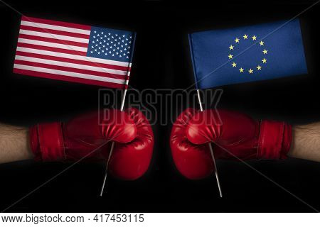 Boxing Gloves With European Union And United States Flag. Usa And The European Union Confrontation A