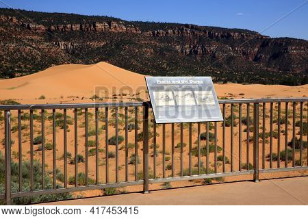 Utah / Usa - August 22, 2015: The Dunes In Coral Pink Sand Dunes State Park, Utah, Usa
