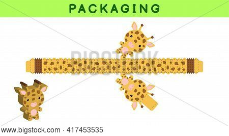 Party Favor Box Die Cut Giraffe Design For Sweets, Candies, Small Presents, Bakery. Package Template