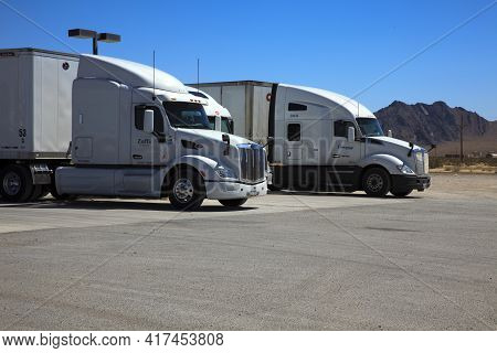 Nevada / Usa - August 22, 2015: Truks Near A Gas Station At The Area 51 Alien Center In The Nevada D