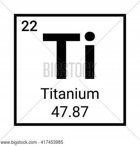 Titanium Periodic Element Icon. Titanium Symbol Chemistry
