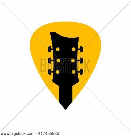 Guitar Acoustick Pick Vector Design Icon Flat Logo. Mediator Guiatar Music Symbol Headstock
