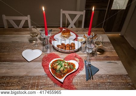 Valentines Day Dinner Setting Romantic Love For Two Wooden Table Red Heart Shape Candle Light With B