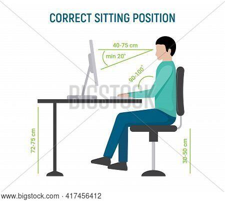 Correct Sit Position Posture. Ergonomic Computer Desk Correct Posture Business Pose