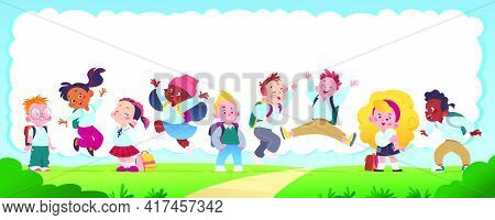 Horizontal Banner With Multiracial Happy School Kids Group With Backpacks Smiling, Jumping And Havin