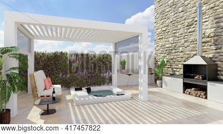 3d Render Of Modern Urban Patio With White Pergola And Outdoor Whirlpool. Barbecue And White Pallet