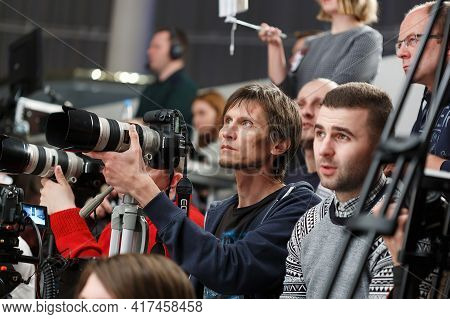 Minsk Belarus - January 7, 2018: A Group Of Photographers Works At The Event