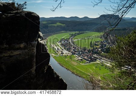 View From The Bastei Viewpoint Of The Elbe River - Beautiful Landscape Scenery Of Sandstone Mountain
