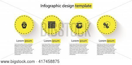 Set Jar Of Honey, Honeycomb, And Bee And Honeycomb. Business Infographic Template. Vector