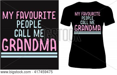 Grandma And Nearest People. Grand Children Fun With Grandmother.
