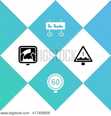 Set Drawbridge Ahead, Speed Limit Traffic, Road Sign And Uneven Road Icon. Vector