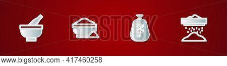 Set Mortar And Pestle, Flour Bowl, Bag Of Flour And Sifting Icon. Vector