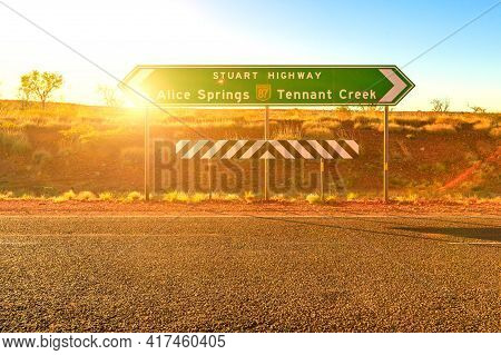 Northern Territory, Australia Outback. Stuart Highway Signboard Direction Alice Springs Or Tennant C