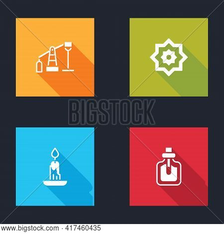 Set Oil Pump Or Pump Jack, Octagonal Star, Burning Candle And Perfume Icon. Vector