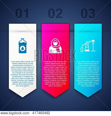 Set Bottle Of Water, Muslim Woman In Hijab And Oil Pump Or Pump Jack. Business Infographic Template.