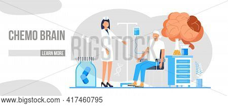 Chemo Brain Concept Vector For Medical Web, Landing Page. Chemotherapy And Oncologist Illustration.