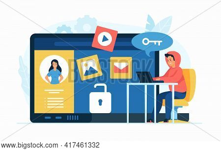 Privacy Violation. Doxing Concept Flat Vector Illustration. Male Cartoon Character Hacker Gathering