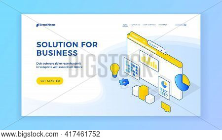 Solution For Business. Vector Isometric Illustration Of Website Page Advertising Various Creative So