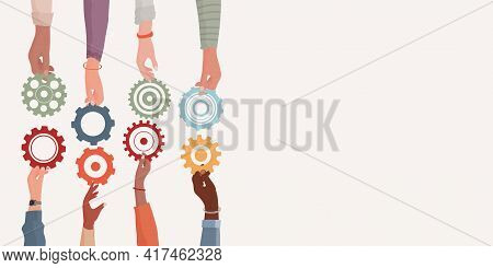 Banner. Concept Teamwork And Cooperation Between Colleagues. Problem Solving Metaphor. Diverse Peopl