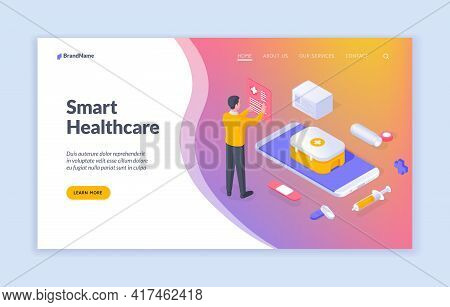 Smart Healthcare. Isometric Vector Banner With Man And Medical Icons With Mobile Phone Offering Info