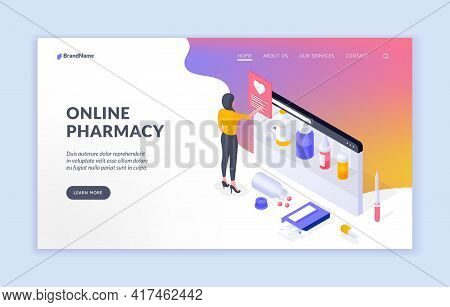 Online Pharmacy. Isometric Banner Template Offering To Learn More About Contemporary Service Of Onli