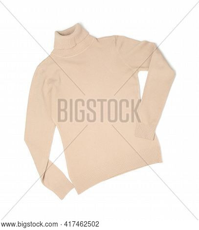 Beige Cashmere Sweater Isolated On White, Top View