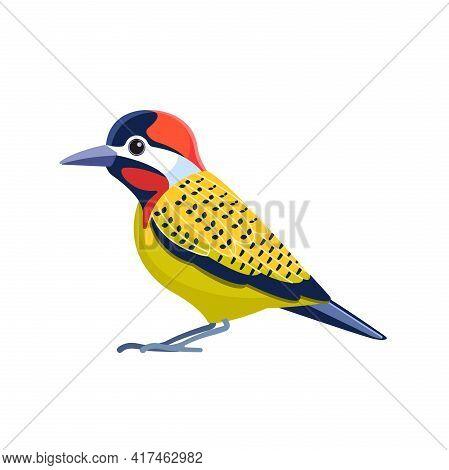 Green Woodpecker Or Picus Viridis Is Sitting. Cartoon Flat Bird, Beautiful Character Of Ornithology,