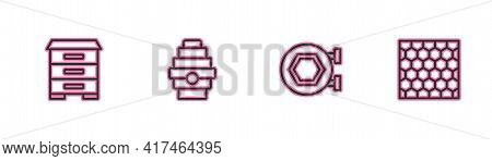 Set Line Hive For Bees, Hanging Sign With Honeycomb, And Honeycomb Icon. Vector