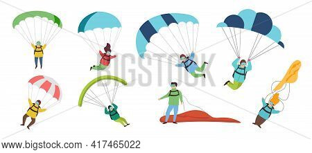 Parachutists Vector Illustrations Set. Flat Vector Set Of Professional Skydivers