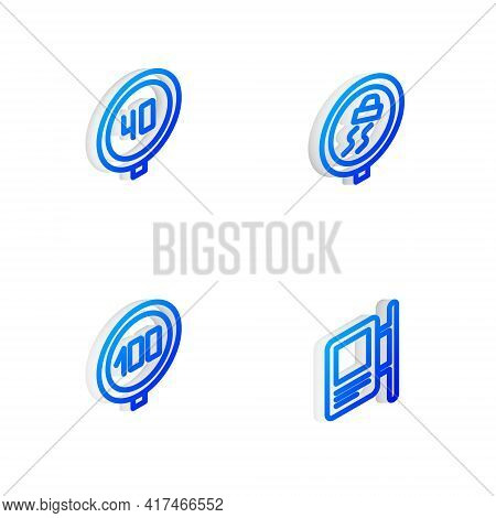 Set Isometric Line Slippery Road Traffic, Speed Limit, And Road Sign Icon. Vector