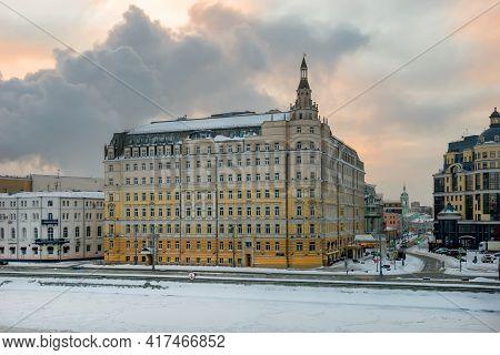 Moscow, Russia - January 17, 2021: View Of The Balchug Kempinski Hotel On Balchug Street And Raushsk