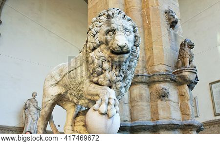 Florence, Tuscany, Italy: Ancient Statue Of A Lion In Piazza Della Signoria, Sculpture That Depicts