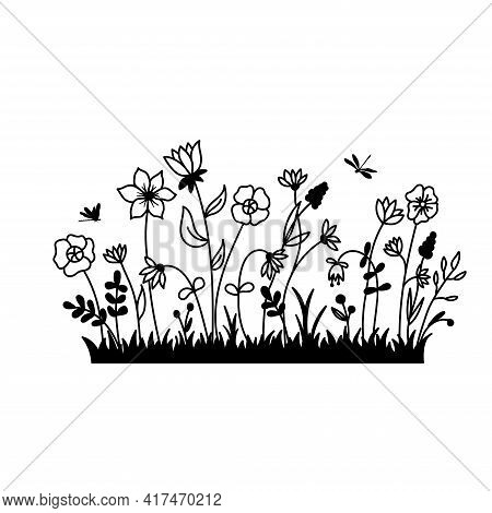 Vector Wild Herbs And Flowers Silhouette Background. Field With Grass And Wildflowers Isolated On A
