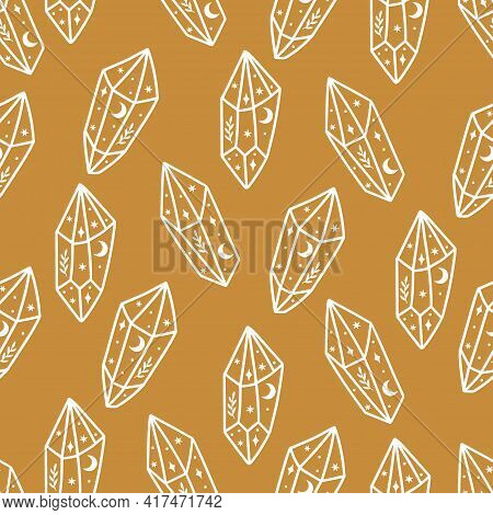 Magic And Celestial Seamless Pattern With Magical Crystal. Trendy Witchcraft Symbol Gem On Gold Back