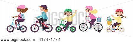 Happy Children Girls And Boys Biking On Bikes A Flat Vector Illustrations.