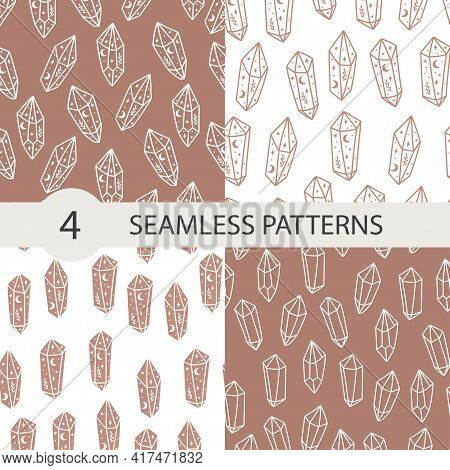 Celestial Seamless Pattern Set With Magical Crystal. Trendy Witchcraft Symbol On Beige And Pink Back