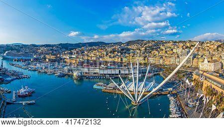 Genoa, Italy - March 20, 2021: Panoramic View Of Port Of Genoa With Porto Antico, The Aquarium, The